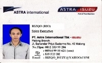 id card marketing isuzu malang